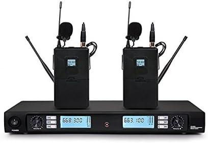 Boly u2900 UHF inalámbrico doble Lavalier micrófono de corbata ...