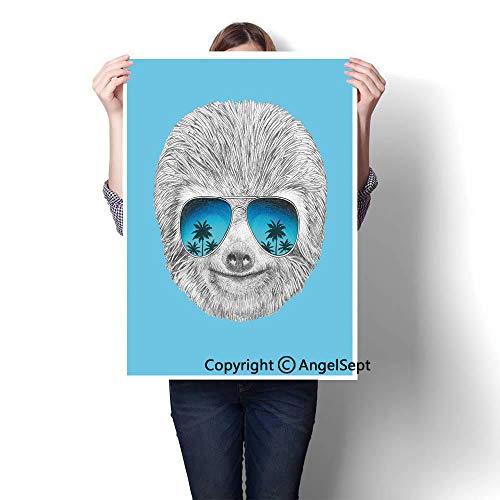 Grey Blue Aqua Modern Canvas Painting Wall Art,Portrait of Sloth with Mirror -