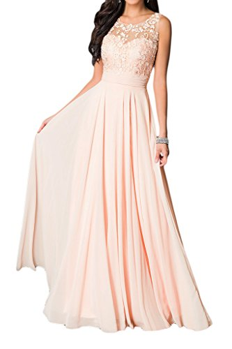 Partykleider Pink Charmeuse Festkleider Aermellos Rundkragen Chiffon Missdressy Elegant Lang Applikation Tanzenkleider Damen Abendkleider wqSanOfBF6