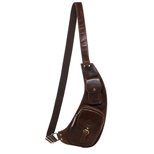 Scotch & Vain mochila de piel DUDLEY - piel genuina marrón - bolso para hombro - grande - backpack portátil (19 x 44 x 4 cm)