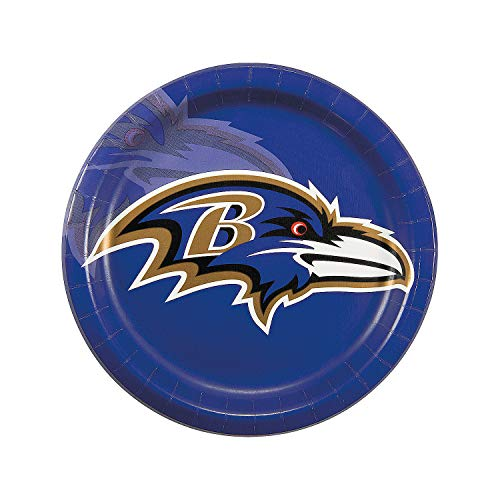 Baltimore Ravens Dinner Plates - Fun Express - Nfl Baltimore Ravens Dinner Plates for Party - Party Supplies - Licensed Tableware - Licensed Plates & Bowls - Party - 8 Pieces