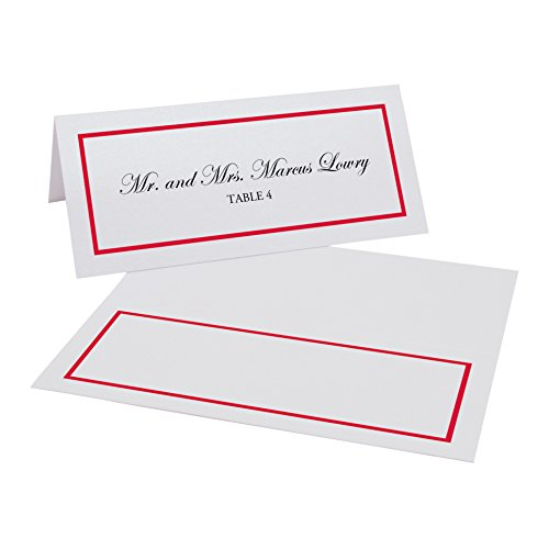 Documents and Designs Single Line Border Easy Print Place Cards, Ruby Red, Set of 60 (10 -