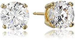 Yellow Gold Plated Sterling Silver Round Cut White Earring