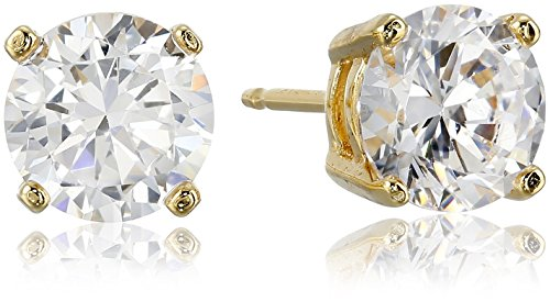 Amazon Essentials Yellow Gold Plated Sterling Silver Round Cut Cubic Zirconia Stud Earrings (6.5mm)