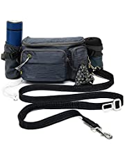 TUDEQU 4-in-1 Hands Free Dog Zero Shock Absorbing Bungee Leash with a Multifunctional Waist Bag, 5.8FT/178cm Leash with Car Seat Belt Buckle and Reflective Threading for Medium to Large Dogs