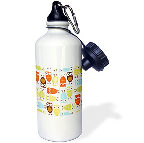 "3dRose wb_60529_1 ""Owl I Cute In Olive Green n Yellow Orange"" Sports Water Bottle, 21 oz, White"