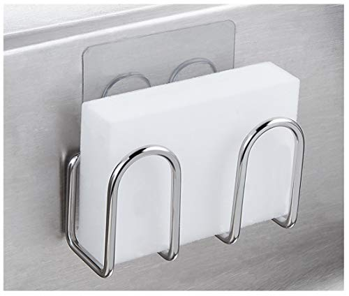 Adhesive Sponge Holder Sink Caddy for Kitchen Accessories - SUS304 Stainless Steel Rust Proof Water Proof, No Drilling