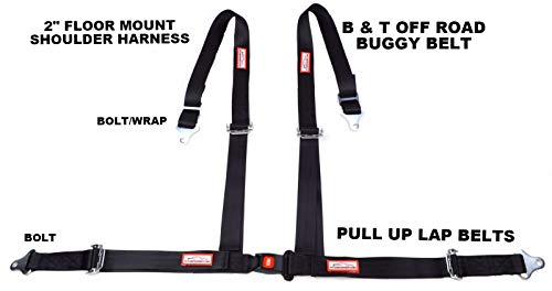 (Racerdirect Off Road 4 Point SEAT Belt Race Harness Pull UP Lap Belts Floor Mount Bolt in)