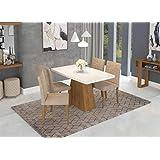 Conjunto Sala De Jantar Cimol Helen 4 Cadeiras Marina Savana/Branco/Caramelo