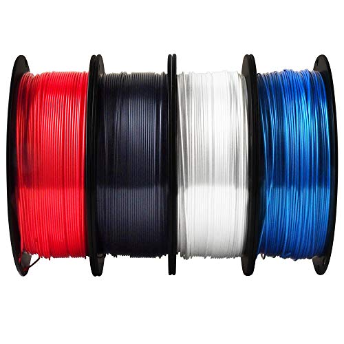 TTYT3D Silk Shiny White Black Red Blue 3D Printer Filament Bundle, 1.75mm 3D Printing Material 4 in 1 Bundle, Each Spool 1Kg Total 4 Spools 4Kgs in One Box