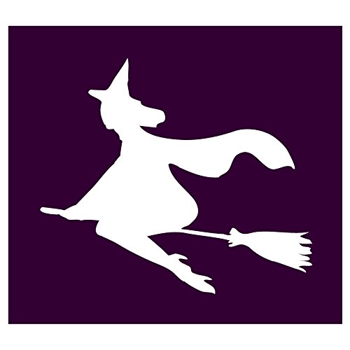 Auto Vynamics - STENCIL-WITCH-03 - Pretty Witch Flying On Broom Individual Stencil from Detailed Witches & Witchcraft Stencil Set! - 10-by-9-inch Sheet - Single Design (Hocus Magic Pocus Set)