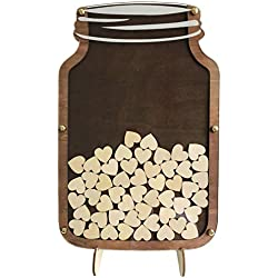 SL crafts Wedding Guest Book Drop Box Guest Book Alternative Mason Jar Drop Box Guest Book 40x26cm (Rustic Brown)