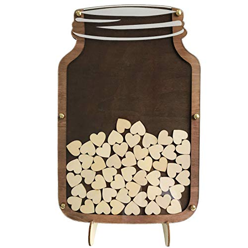 SL crafts Wedding Guest Book Drop Box Guest Book Alternative Mason Jar Drop Box Guest Book 40x26cm (Rustic Brown) (Drop Frame)