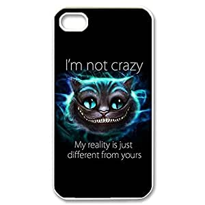 Amazing Painting Design with Cheshire Cat Quotes best We Are all All beauty Mad Here Thin & Strong Plastic Shell Cover for iPhone babys 5s -White030910