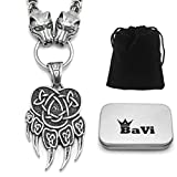 BaviPower Bear Paw Pendant with Celtic Knot Pattern and Wolf King Chain Necklace ♦ Stainless Steel ♦ Nordic Scandinavian Necklace ♦ Authentic Viking Jewelry