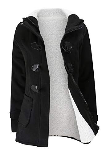 Jacket Duffle Coat - Women Fleece Lined Hoodie Pocket Button Zipper Cotton Duffle Coat Jacket Top(XL,Black)