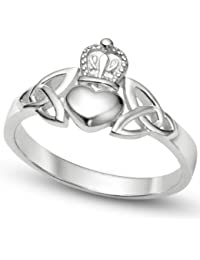 Nickel Free Sterling Silver Irish Claddagh Friendship and Love Band Celtic Ring w/ Trinity Symbols