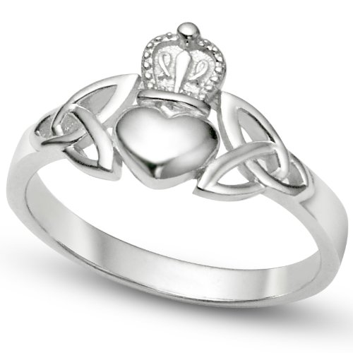 Sz 10 Sterling Silver Irish Claddagh Friendship and Love Band Celtic Ring w/ Trinity Symbols