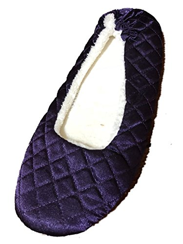 Womens Quilted Purple Satin Ballet Style House Slippers S-M 5-7.5