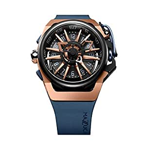 Mazzucato Rim Men's Reversible Automatic and Chronograph Watch with Two Tone Strap and Reversible Case Rim Rose Gold 02-BLCG6