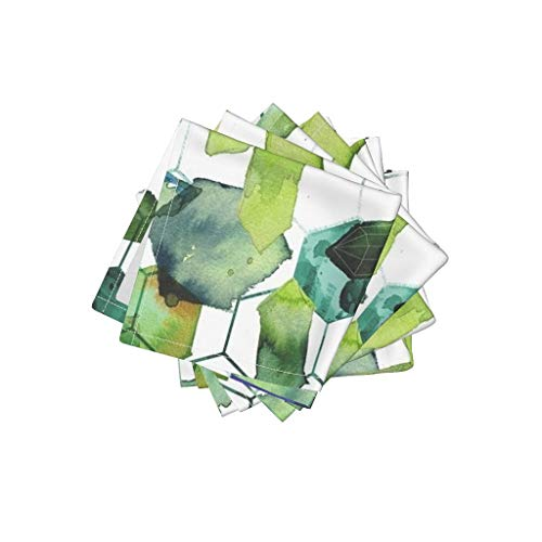 (Roostery Watercolor Jade Linen Cotton Cloth Cocktail Napkins Watercolor Home Decor Jade Jewels Watercolor Geometric Modern Home Decor Abstract Diamonds by Karismithdesigns Set of 4: 10 x)