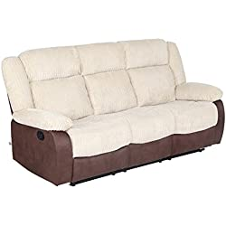 VIVA HOME Classic and Traditional Beige & Chocolate Fabric Sofa Recliner chair with Overstuff Armrest/Headrest (3 Seater)