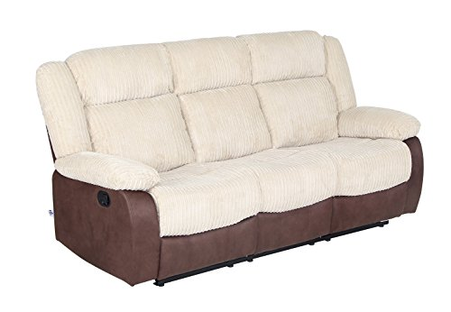 Recliner Sofa Set Classic and Traditional Beige & Chocolate Fabric Sofa chair with Overstuff Armrest/Headrest (3 Seater)