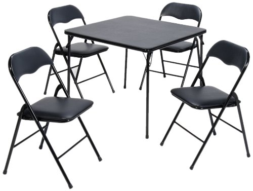 Meco 5-Piece Folding Table and Chair Set, Black Frame and Fritz Fabric Upholstery by MECO