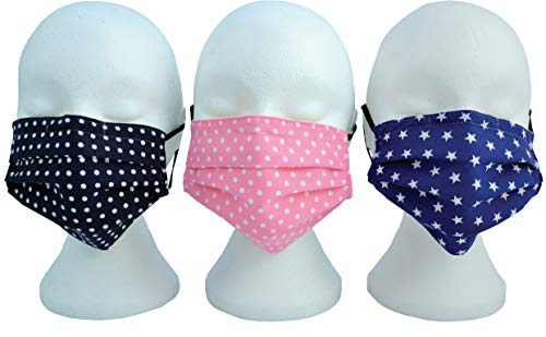 Vagabond Bags Ltd Navy White Spot Face Mouth Mask, Reusable, Washable