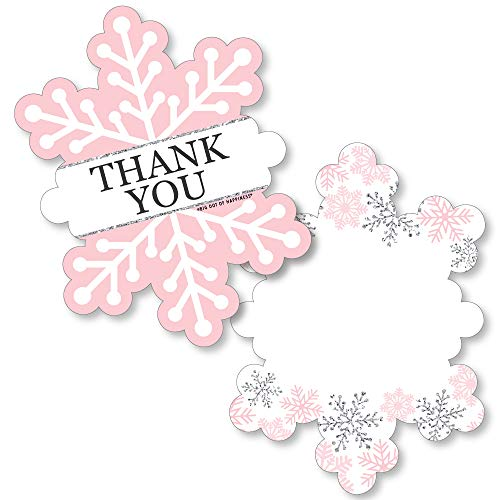 Big Dot of Happiness Pink Winter Wonderland - Shaped Thank You Cards - Holiday Snowflake Birthday Party and Baby Shower Thank You Note Cards with Envelopes - Set of 12 (Thank You Card Snowflake)