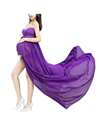 Maternity High Waist Photography Dress Full length Chiffon Gowns with Briefs