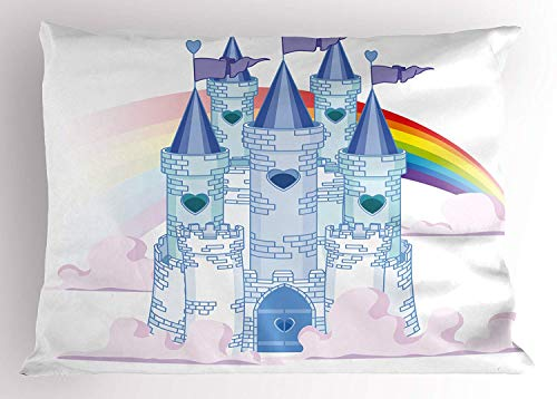 K0k2t0 Fantasy Pillow Sham, Fairy Tale Princess Castle in The Sky with Rainbow Love Wins Queer Surreal Romance, Decorative Standard Queen Size Printed Pillowcase, 30 X 20 inches, Multicolor