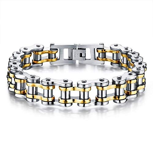 Men's Cool Biker Bicycle Motorcycle Chain Bracelets & Bangles | Fashionable 316 Stainless Steel Jewelry (8.5Inch 4 Colors)