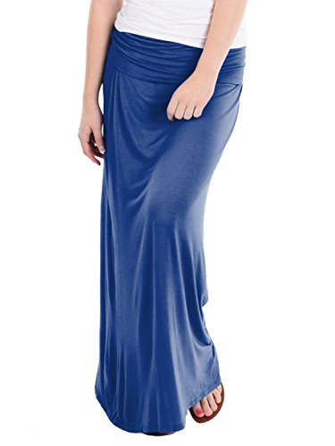 Hybrid & Company - Women's Maxi Skirt W/ Fold Over Waist Band - Made in the USA, Royal Blue, X-Large