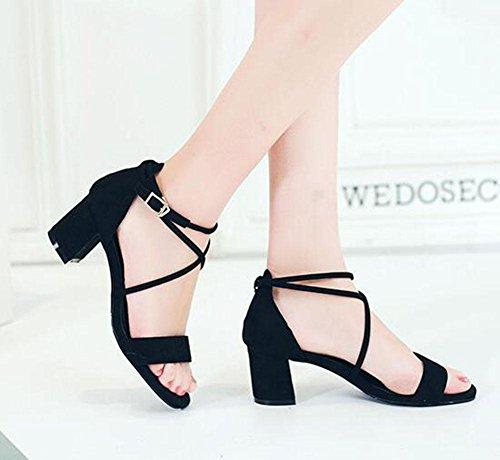 KUKI Mode Schuhe dünn mit dicken Schnalle Zehen Nähte Sandalen 2