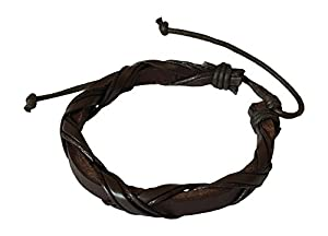 Mens Leather Bracelet Brown Braided Wristband