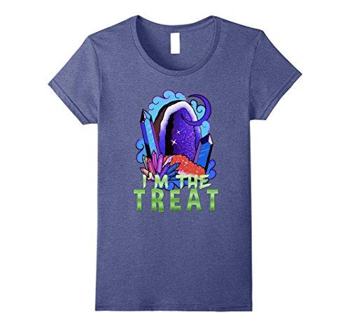 Womens Beautiful I'm The Treat Halloween 2017 T-Shirt Small Heather Blue