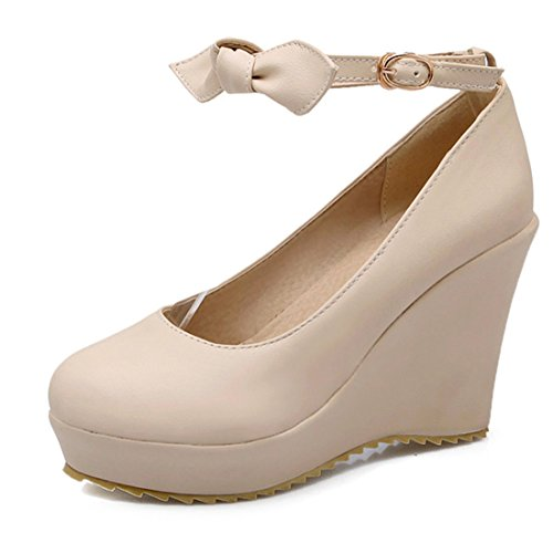 YE Women Ankle Strap Wedge High Heels Platform Pumps with Bow and Platform Beige F1TOcZNCe