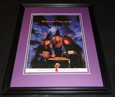 1999 Seagram's 7 Halloween Framed 11x14 ORIGINAL Vintage