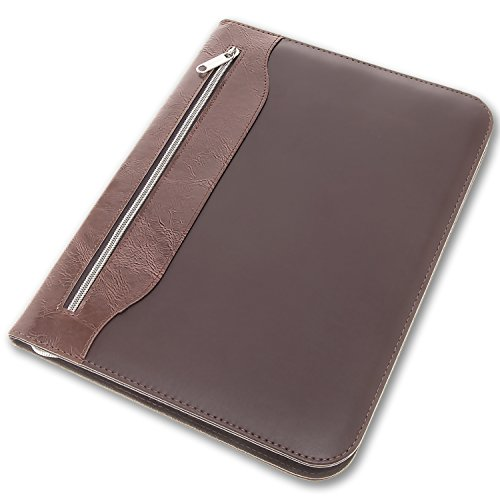 Zippered Calculator Padfolio - Brown Portfolio Organizer with Zipper Pouches | Padfolio with Calculator and Notepad