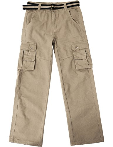 Ma Croix JP Mens Cargo Pants with Utility Belt (42/pj01_Khaki) (Relaxed Fit Utility Pant)