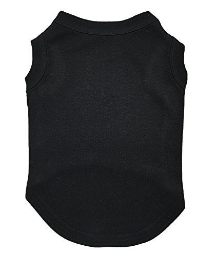 Petitebella Puppy Clothes Dog Dress Plain Black Sleeveless Cotton Tee T Shirt (Large)