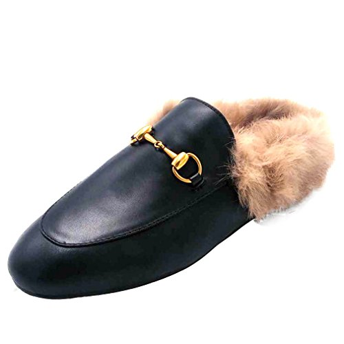 ENMAYER Women's Black Retro Fashion Loafers Round Toe Slip on Flat Outdoor Slippers with Furry and Buckle Black 7 B(M) US ()