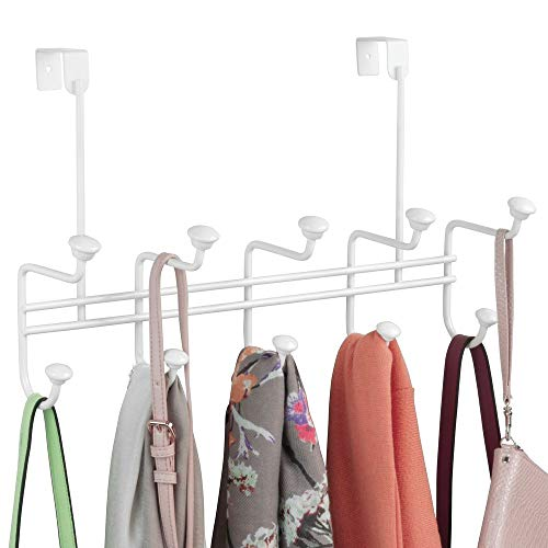 (mDesign Decorative Metal Over Door 10 Hook Storage Organizer Rack - to Hang Coats, Jackets, Hoodies, Hats, Scarves, Purses, Leashes, Bath Towels, Robes, Men's and Women's Clothing - White)