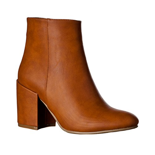 Riverberry Women's Tori Chunky, High Heel Ankle Bootie Boots, Saddle, 10