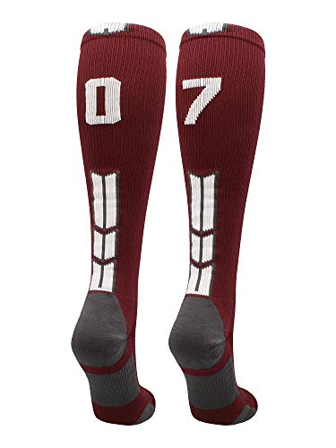 Player Id Number Socks Over The Calf Maroon White (#07, Medium)