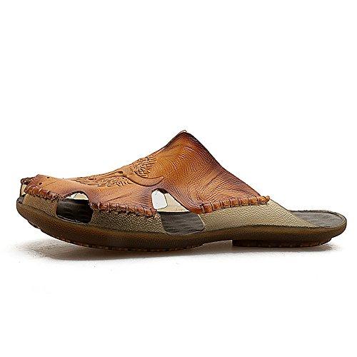piatto NO chiuso morbido 2018 Casual pelle Dimensione antiscivolo vera Orange spiaggia Mens colla uomo Pantofole sandali EU scarpe Color da in da 44 shoes T7OTqw6
