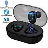 Bluetooth 5.0 Touch Control True Earbuds Headphones BT 3D Stereo Surround Super Bass Noise Cancellation Headsets with Mic Charging Case Mini in-Ear TWS Earphones (Black)