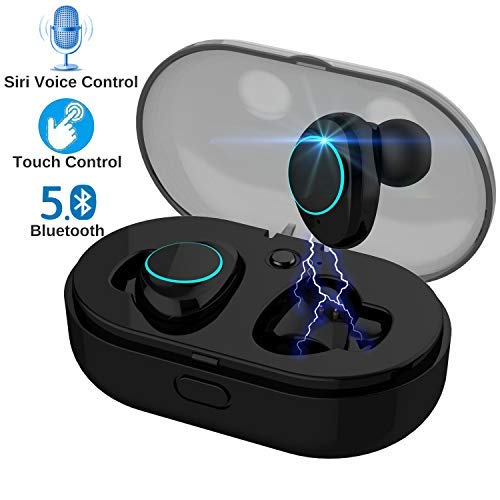 Bluetooth 5.0 Touch Control True Earbuds Headphones BT 3D Stereo Surround Super Bass Noise Cancellation Headsets with Mic Charging Case Mini in-Ear TWS Earphones (Black) (Earbud Surround Sound Headphones)