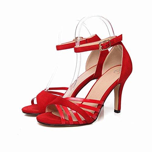 Strap Party Fashion Evening Red Sexy Stiletto Heel Womens High Buckle Ankle Carolbar Sandals wqafxHnXtY